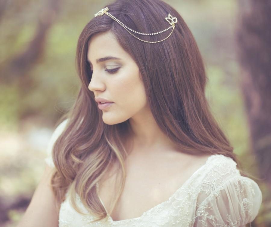 Wedding - Bridal hair chain, Boho bride, Gold chain headpiece, Gold hair comb, Boho wedding headpiece, Bridal accessories, Wedding Jewelry