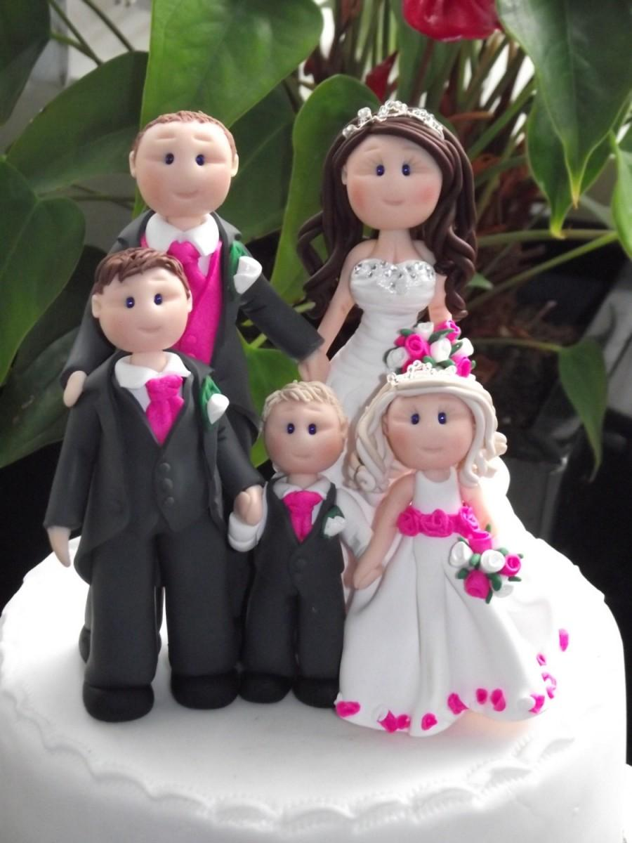 زفاف - personalised bride groom 3 children wedding cake topper all handmade, customised to your specification