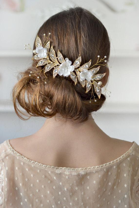 Свадьба - Gold bridal jewelry rhinestones hair comb cream floral head piece back crown wedding gold cream hair comb bridal Crystal wedding hair silk
