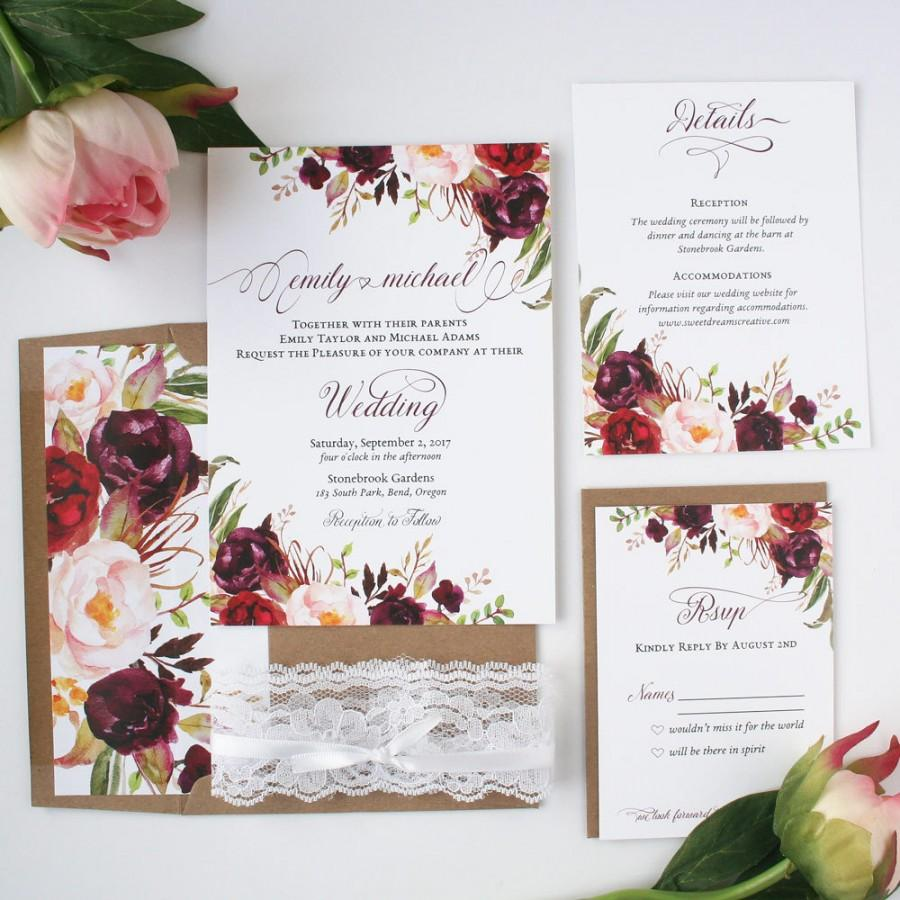زفاف - Fall Wedding Invitations - Burgundy & Blush - Wedding Invitations - Rustic Burgundy Script Collection Sample Set
