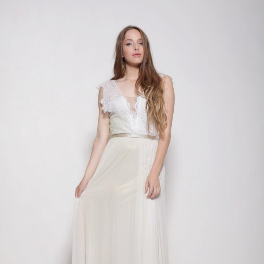 زفاف - Bohemian lace top wedding dress, golden lining ,open back wedding dress