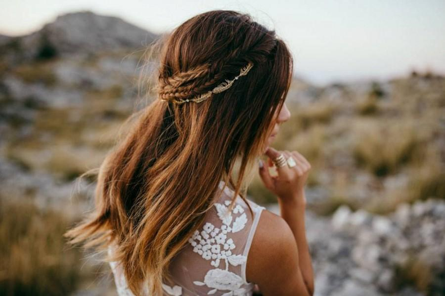 Mariage - Gold Bridal headpiece - Wedding Hair Vine - Back of Head Hair Accessory  - bohemian headpiece - Boho Wedding Dress
