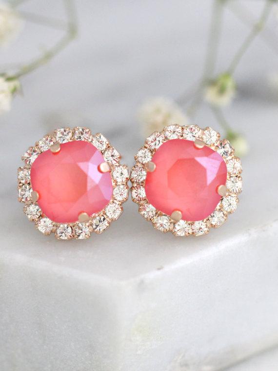 Mariage - Coral Earrings, Bridal Coral Earrings, Peach Studs, Swarovski Crystal Coral Earrings, Bridesmaids Coral Earrings, Gift For her