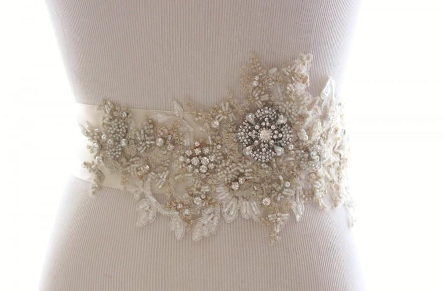 زفاف - Champagne Gold Silver Lace Bridal Sash, Rhinestone Bridal Belt, Lace Sash