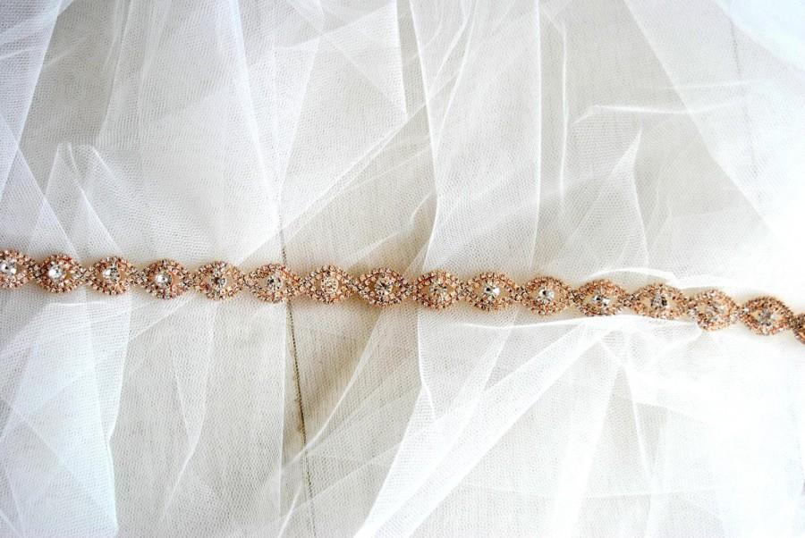 Mariage - Rose gold Bridal Belt Sash Rhinestone Belt Sash Flower Girl Rose Gold Bridesmaid Gift Sash belt Crystal Rose Gold Dress Sash Belt