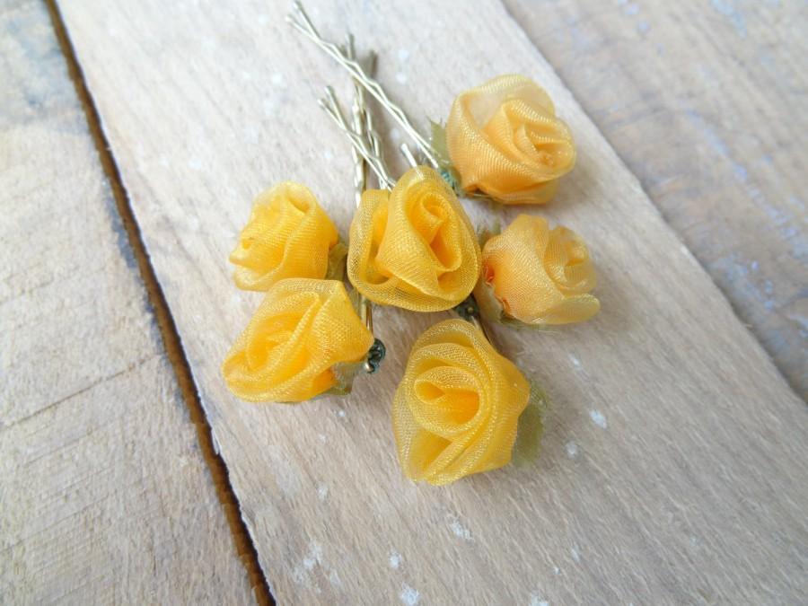 Mariage - Orange Rose Wedding Hair Pins,Orange Bridal Hair Pins, Hair Accessories, Organza Hair Pins, Bridesmaid Hair, Woodland - Set of 6