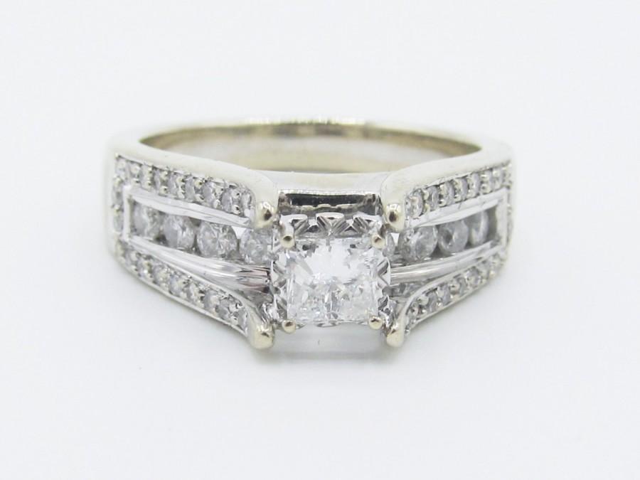 Mariage - APPRAISED Estate Princess Cut Diamond Bridge Engagement Ring 14k White Gold- 1.00ctw/ Bride, Bridal, Wedding