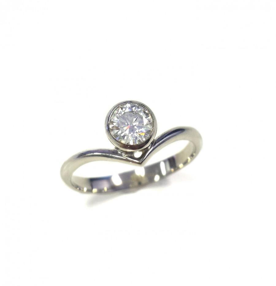 Hochzeit - Offset Chevron Moissanite Engagement Ring in 14k White Gold - Minimalist - Round Brilliant Solitaire