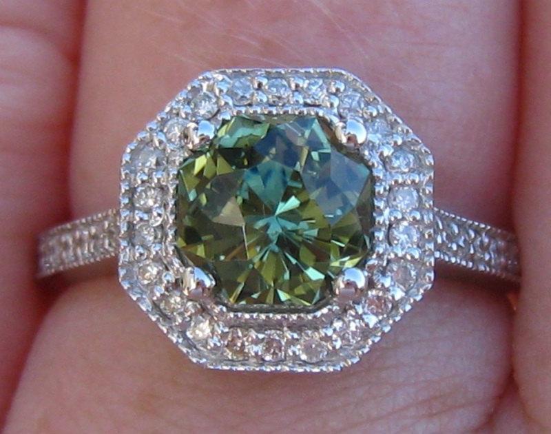 Hochzeit - Green Sapphire Engagement Ring, 1.65 Carat Precision Cut Untreated Green Sapphire in White Gold Milgrain Bezel Diamond Halo Engagement Ring