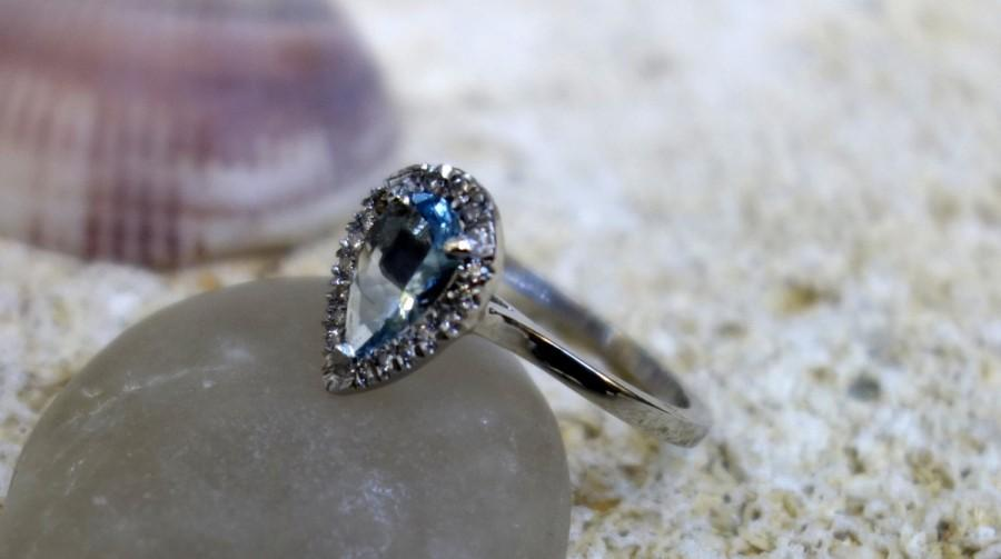 Hochzeit - Solitaire Floral Blue Topaz Engagement Ring Platinum Gold Diamond Wedding Band Drop Blue topaz Ring Cocktail ring jewelry Gold rings solid