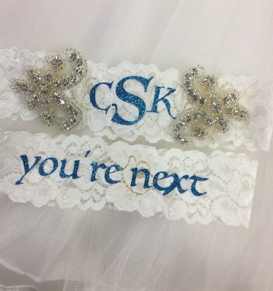 Mariage - Wedding garter, monogrammed, you're next, personalized, something blue