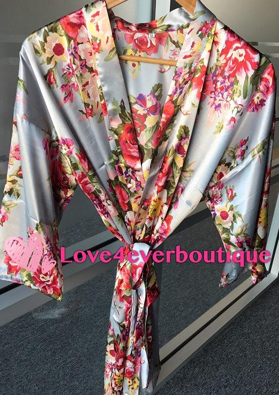 Hochzeit - Floral kimono robe, Silk Flower Bridesmaid robes, Satin wedding robes, Getting ready robe, Underwear bridal gifts
