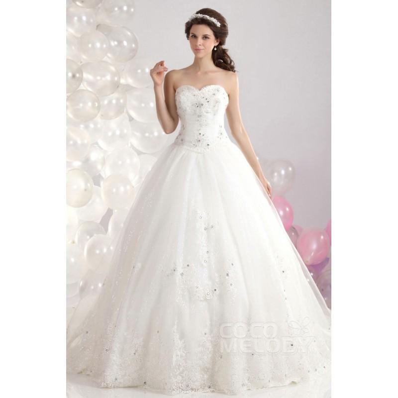 Fantastic Ball Gown Sweetheart Chapel Train Tulle Wedding Dress ...