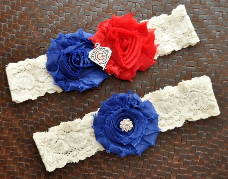 Hochzeit - Chicago Cubs Wedding Garter Set, Chicago Cubs Bridal Garter Set, Ivory Lace Wedding Garter, Baseball Wedding Garter, Cubs Garter