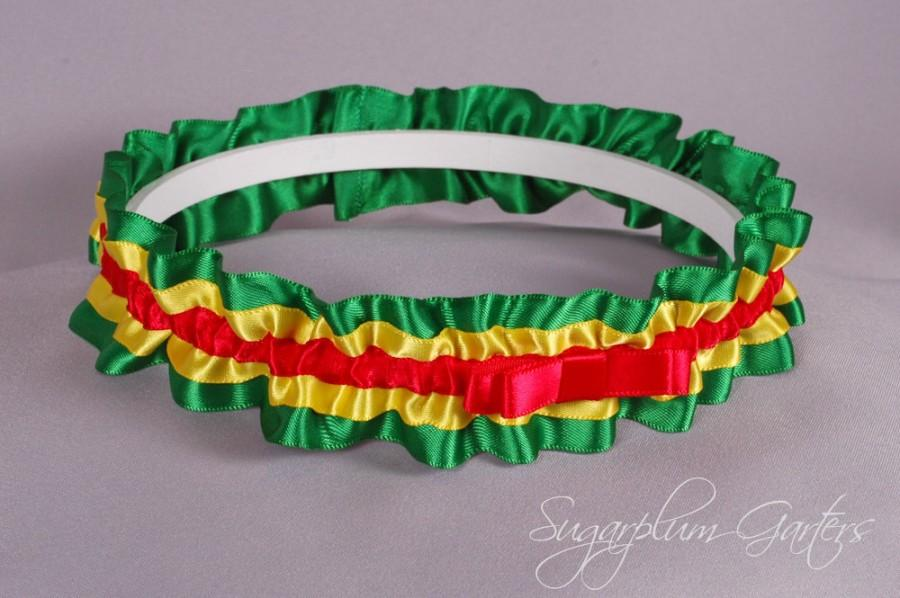 Mariage - Rasta Wedding Garter in Red, Yellow and Green Satin with Tailored Bow