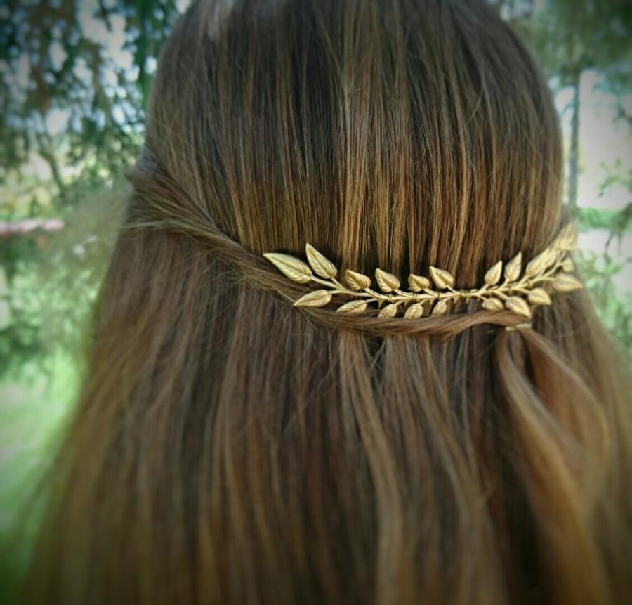Wedding - Leaf Hair Comb Gold Edwardian Leaf Hair Comb Laurel Hair comb Leaf Branch Hair Clip Bridal Hair Comb Grecian Hair Goddess Hair