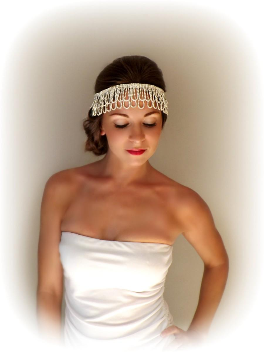Wedding - 1920's 1930's Gatsby Style Rhinestone Flapper Head Piece Head Dress for Vintage Weddings Photo Shoot