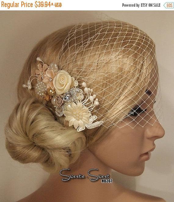 Mariage - SALE Wedding Hair Comb, Lace Wedding Comb, Bridcage Veil, Bridal Veil, Wedding Veil, Bridal Hair Comb, Winter wedding comb, Ivory lace hair