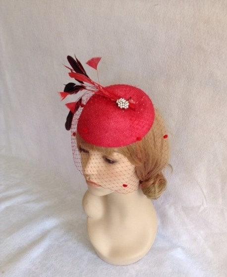 Red Feather Fascinator Hat Wedding Mother Of The Bride Derby Hatinator Birdcage Veil Church