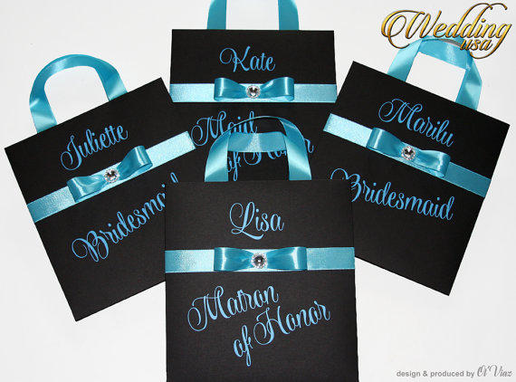 Wedding - Luxury Personalized Bags Matron of Honor Gift Bags with Blue ribbone Custom Bridesmaid Bachelorette bags Bridal favors Bridal Shower gifts