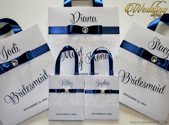 Mariage - Small Personalized Bridesmaid Gift Bags with white lace Navy Blue ribbone and name Custom Bridesmaid Bachelorette bags Bridal Party Favors