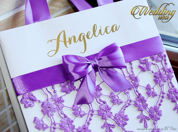 Mariage - Dark Lavender Bridesmaid's Gift Bag - Personalized Bachelorette Party Gift Paper Bags - Wedding Welcome Bag with satin ribbon and lace