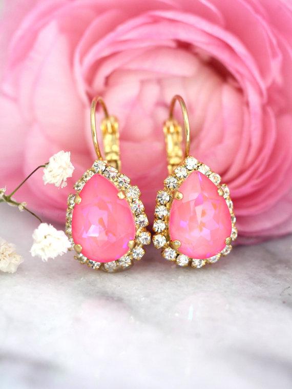 Wedding - Pink Earrings, Neon Crystal Earrings,Pink Drop Swarovski Earrings, Hot Pink Bridesmaids Earrings,Pink Bridal Earrings,Gift for Woman