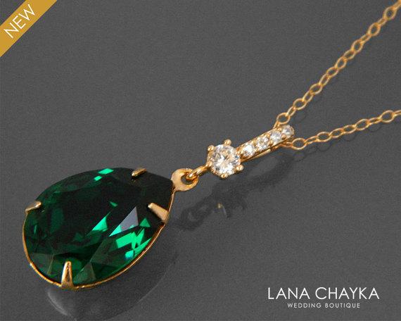Свадьба - Emerald Crystal Gold Necklace Green Teardrop CZ Necklace Swarovski Emerald Rhinestone Necklace Wedding Bridal Dark Green Gold CZ Jewelry