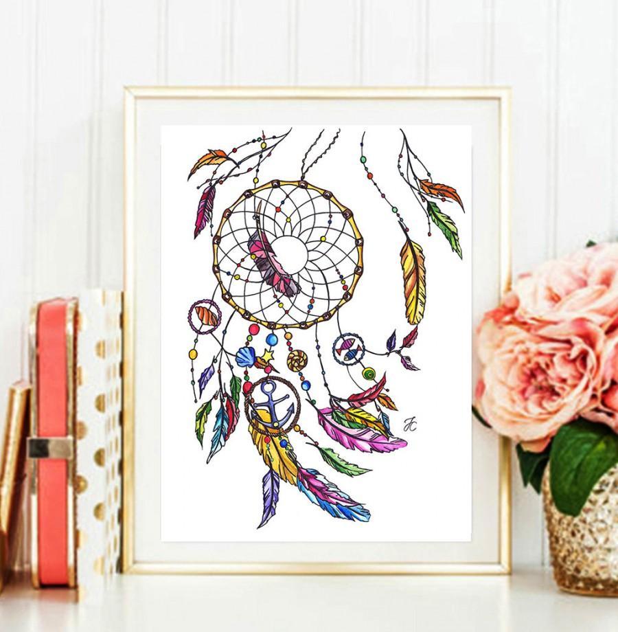 Mariage - Dreamcatcher art, Dreamcatcher, Dreamcatcher illustration, dreamcatcher painting, fashion illustration, printable quotes, baby girl nursery