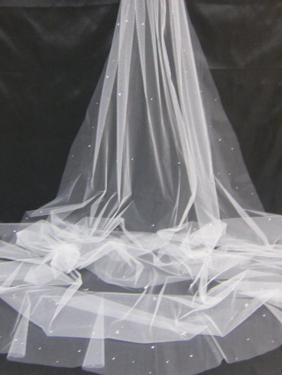 Mariage - Cathedral Chapel Waltz Tailor Custom Handmade 1 Tier Crystal Rhinestone Wedding Bridal Cut Edge Veil
