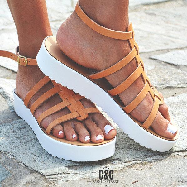 زفاف - Leather women natural Sandal shoes, Gladiator sandals, leather shoes