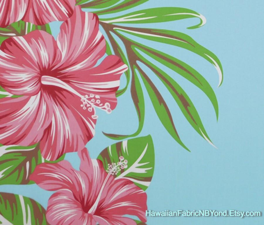 زفاف - Tropical Flower Fabric Hibiscus Panel Design Sky Blue, HawaiianDress and All Craft Projects, HPCN10031, Ask for bulk