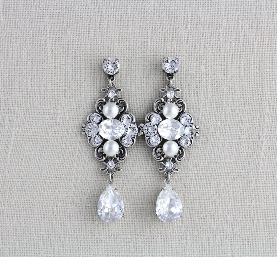 Crystal Bridal Earrings Wedding Swarovski Vintage Style Antique Ashlyn