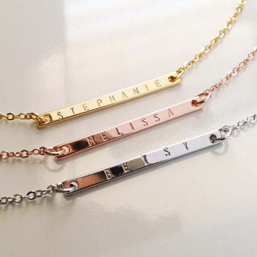 Wedding - Custom Name Bar Necklace Initial Pendant Necklace, Monogram charm Necklace