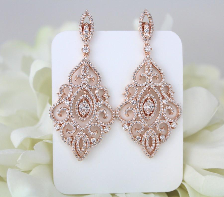 Rose Gold Earrings Bridal Wedding Jewelry Crystal Chandelier Statement Bridesmaid