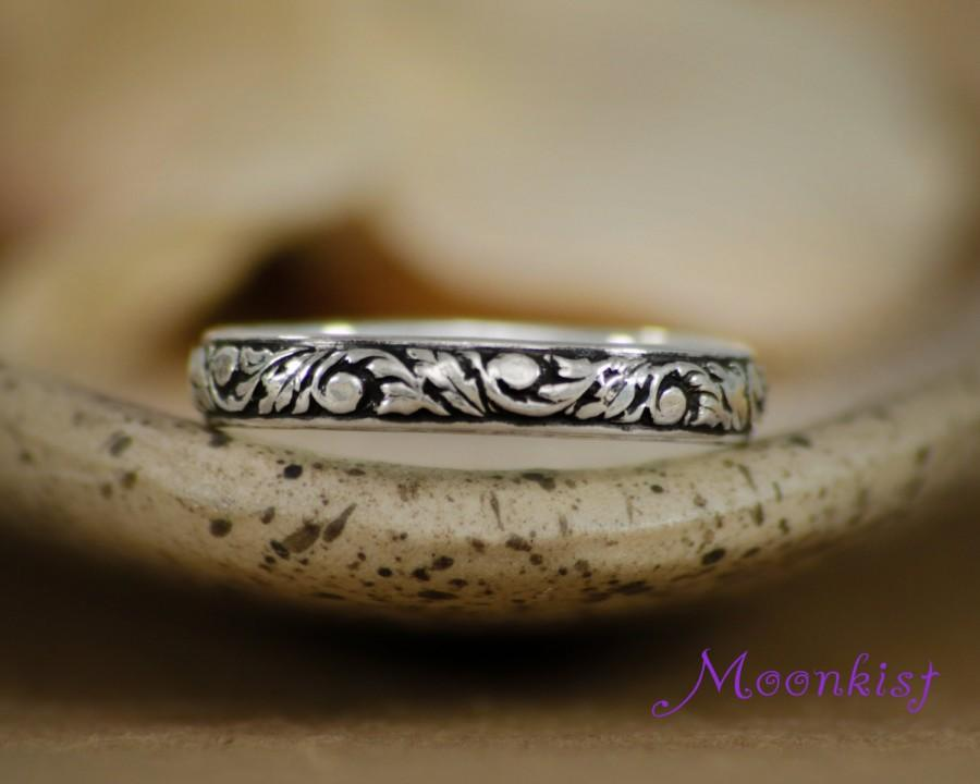 Mariage - Sterling Silver Tendril and Vine Wedding Band - Narrow Floral Pattern Band - Silver Floral Ring - Promise Band - Anniversary Band