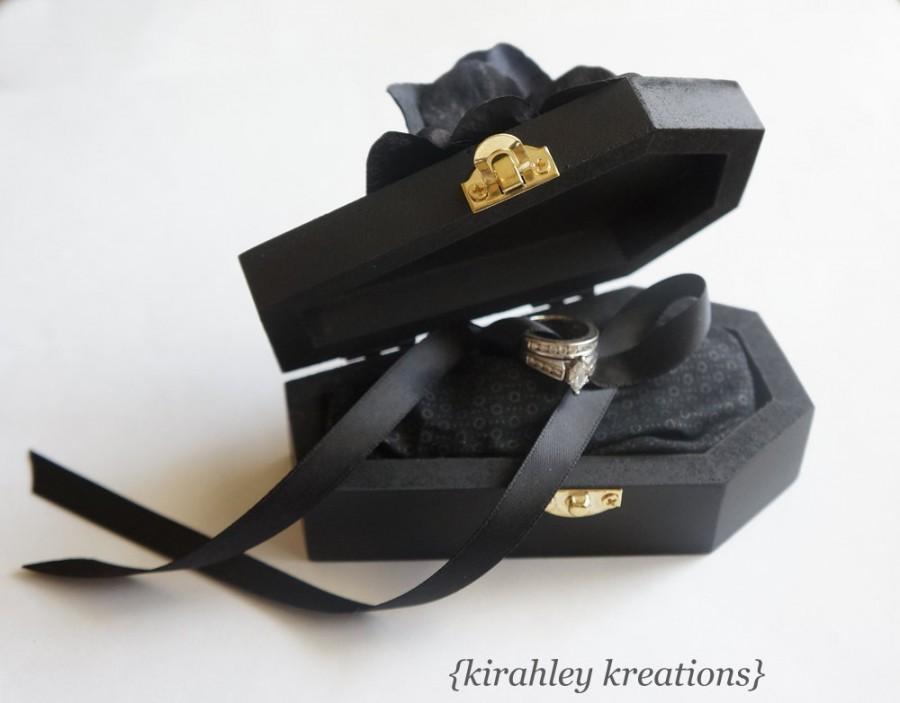 Wedding - Wood Coffin Ring Bearer Box Wedding Ceremony Ring Pillow Til Death Do Us Part Halloween Gothic Engagement Proposal Casket Black Hydrangeas