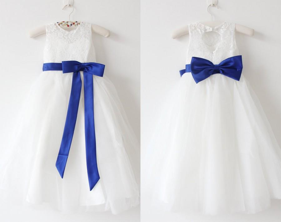 994a47d9845 Light Ivory Flower Girl Dress Royal Blue Girls Dress Lace Tulle Flower Girl  Dress With Royal Blue Sash Bows Sleeveless Floor-length