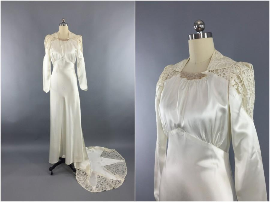 Vintage 1940s Wedding Dress SATIN STAR 40s Bias Cut 1930s Art Deco Ivory Satin Lace Gown Size Small To Medium