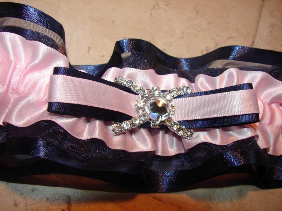 Mariage - PINK NAVY BLUE Garter Set, Turquoise Garter, Pink Garter, Navy Blue Garter, White Garter, Ivory Garter, Burgandy Garter, Turquoise Garter