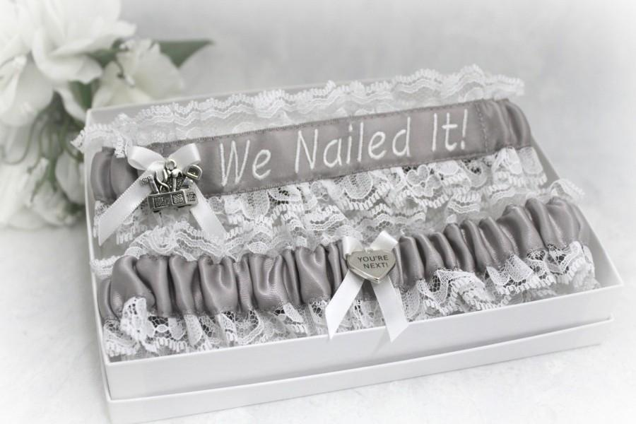 Hochzeit - Handcrafted Personalized Wedding Garters - Choice of Profession and Colors Garters - Carpenter Wedding Garters - We Nailed It Garters.
