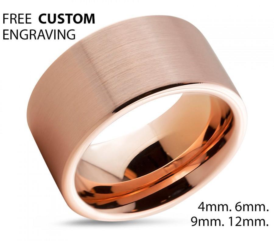 Mariage - Tungsten Ring Rose Gold Wedding Band Ring Tungsten Carbide 12mm 18K Tungsten Ring Man Wedding Band Male Women Anniversary Matching