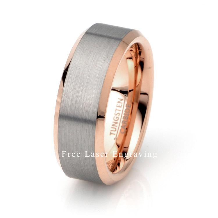 Mariage - Rose Gold plated Tungsten Ring, Mens Wedding Band, Brushed Tungsten Ring, Polished Edge, Rose Gold Band, 8mm Tungsten Ring, Tungsten Ring
