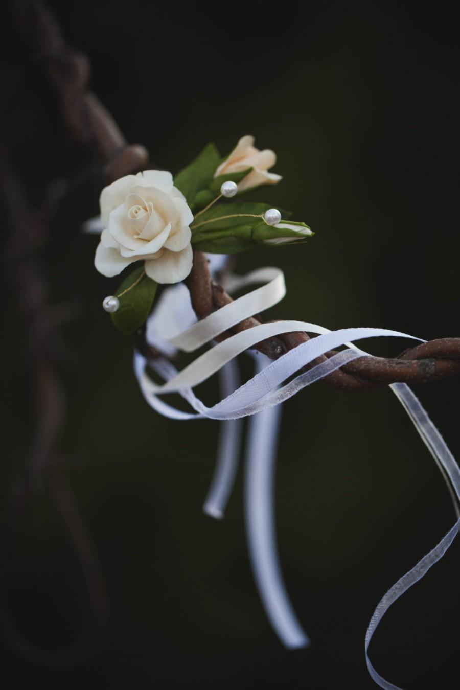 Mariage - Wedding Bracelet - Handmade Bracelet - Rose Bracelet - Floral Bracelet - Cold Porcelain Bracelet - Flower Bracelet