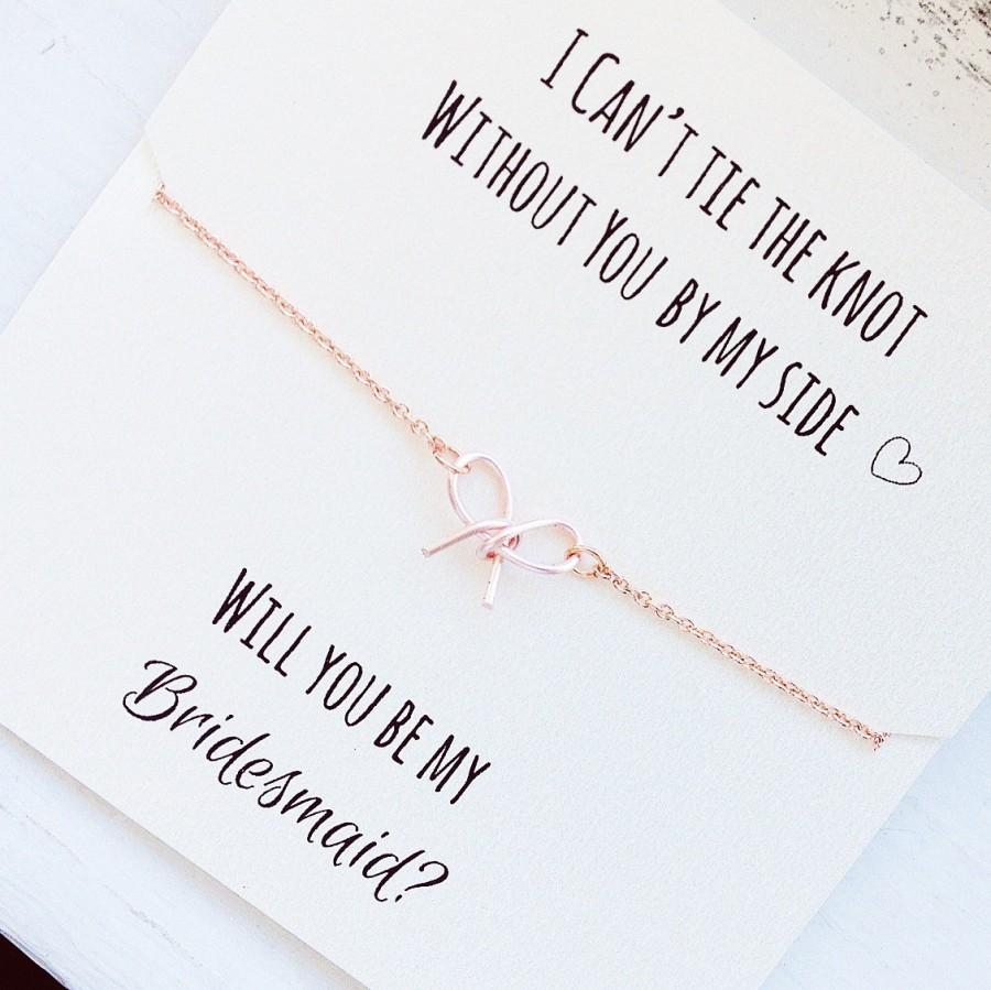 Mariage - FREE SHIPPING, Will you be my bridesmaid, rose gold tie the knot necklace, rose gold bow necklace, tiny bow necklace, bridesmaid proposal
