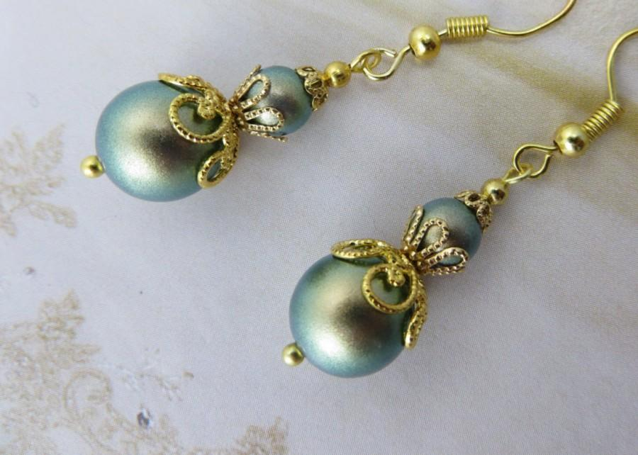 Mariage - AUTUMN GREEN PEARL Earring Gold Stardust Filigree Olive Crystal Bridesmaid Shabby Chic Handcrafted Bride Gift Lace Antique French Provincial