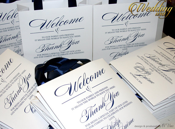 Set Of 40 White Personalized Out Of Town Wedding Welcome Bag With ...