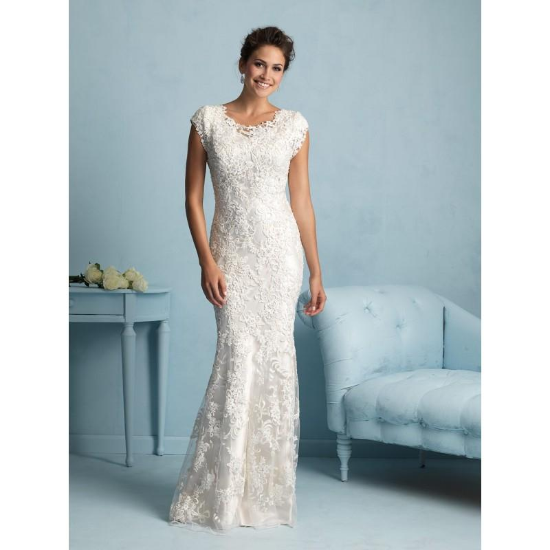 Mariage - Allure Modest M536 Beaded Lace Sheath Wedding Dress - Crazy Sale Bridal Dresses