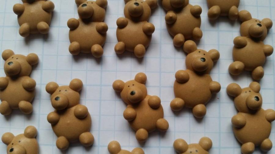 Свадьба - Royal icing teddy bears -- Edible handmade cupcake toppers cake decorations (12 pieces)