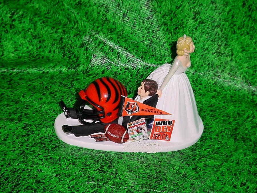 Wedding - Cincinnati Bengals Football Fun Bride Pulling Groom to Church Funny Wedding Cake Topper- NFL Sports Fan Custom Groom's Cake toppers-1